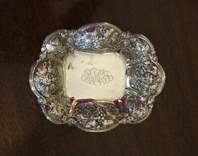Vintage Solid Sterling Silver Repousse Hallmarked Candy Nut Dish 81.4g