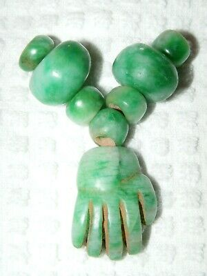 Rare Pre-Columbian Bright Green 8 Piece Lot Jade Figural Hand and Beads