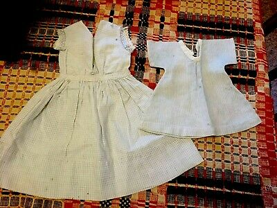 Moprimitivepast 2 primitive antique blue doll dresses  textile pegrack AAFA