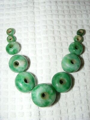 Rare Pre-Columbian Bright Green 11 Piece Lot Jade Graduated Beads