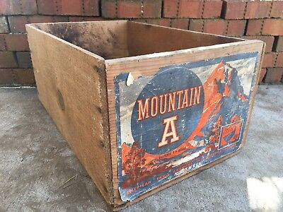 Vintage Wooden Produce Fruit Crate Blue Goose Pears Box Medford Oregon Mountain