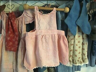Moprimitivepast vintage red ish rag doll dress primitive pegrack  cabin homemade