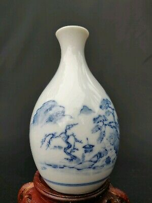 Antique Chinese Blue and White Porcelain Miniature Vase Signed 4.5""