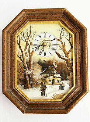 Vintage Hand Made & Hand Painted Quartz Clock Late 1970s *JUNGHANS MOVEMENT W738