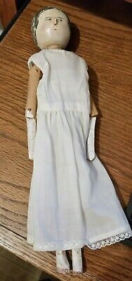 Antique German Dutch Wood Penny Peg Doll Hand Carved & Painted-Slip & Pantaloons