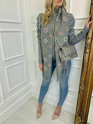 The Lulu Designer Inspired Scarf in Grey with reversible Stripe
