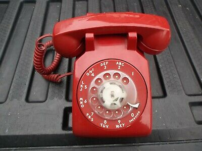 Vintage Western Electric Red Rotary Dial Desk Phone Telephone 500DM 60s- 70s