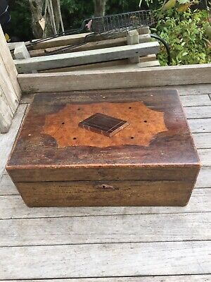 Antique Inlaid Wood Bible Book Box Chest w/Burl