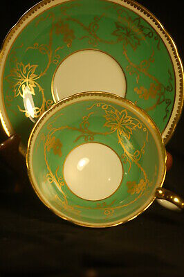 Aynsley Green and Gold Grape Vine Cup  and Saucer