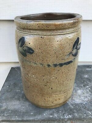Antique 19Th C Baltimore Cobalt Blue Decorated Stoneware Crock Jar Not Pa