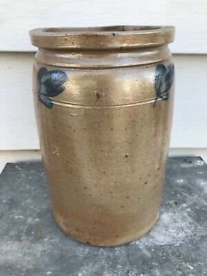19Th C Pennsylvania Cobalt Blue Antique Stoneware Crock Jar Rj Grier