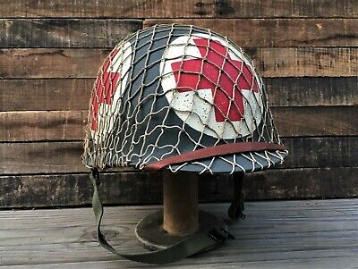 Wwii Us Army 4 Panel Combat Medic Helmet ~ D-Day ~ Complete M1