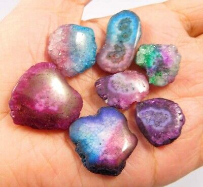 116 Cts. Natural Dyed Multi Solar Druzy Agate Lot Loose Cabochon Gemstone NG6829