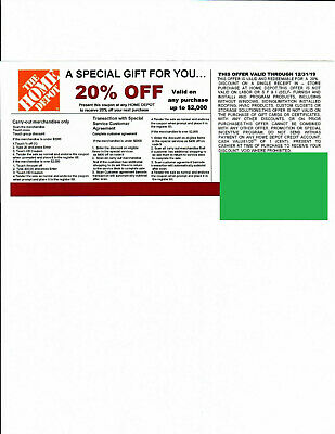 20% OFF HOME DEPOT Competitors Coupon to use at Lowe's expires 12/31/19