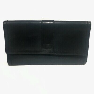 Coach Vintage Black Leather Organizer Checkbook Clutch Purse Wallet