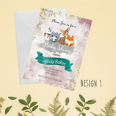 Personlaised Woodland Theme Baby Shower Invitation & Thank You Card with Envelop