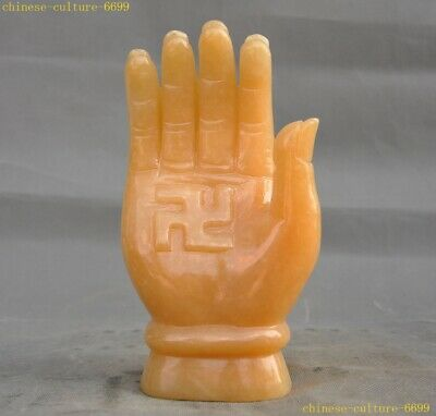 "8""China Natural yellow jade Carving Buddhism Kwan-yin Guanyin Buddha hand statue"
