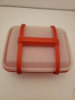 Vintage Tupperware Lunchbox Pak-n-Carry 1254 Burnt Orange w Cream Containers