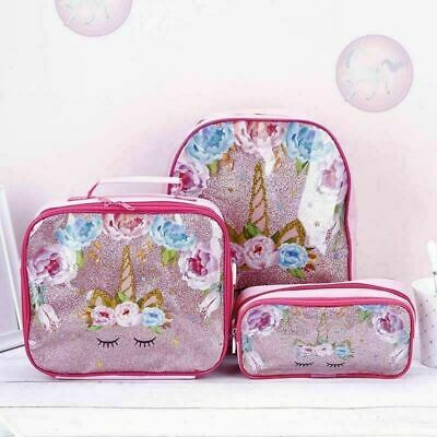 3pc/Set Girl Unicorn Backpack Lunch Bag Pencil Pen Bag Back to School Wzm