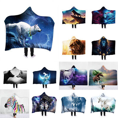 Hooded Blanket Cloak Cape Thick Double-layer Plush 3D Printed Abstract Animals