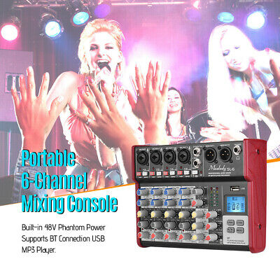 Professional 6 Channels BT DJ Mixer Sound Mixing Console With USB MP3 Jack M1E4