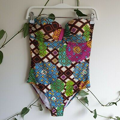 Vtg 70s 60s Cut Out Strapless Swimsuit 48/50 Fit M Floral Leaf Retro Print Italy