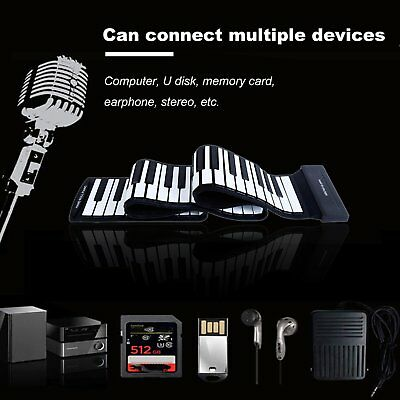 Portable 88 Keys Flexible Roll-Up Piano Electronic Keyboard Hand Roll Piano CA