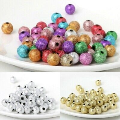 6/8/10/12mm Charm Round Stardust Acrylic Loose Spacer Beads Jewelry Making DIY