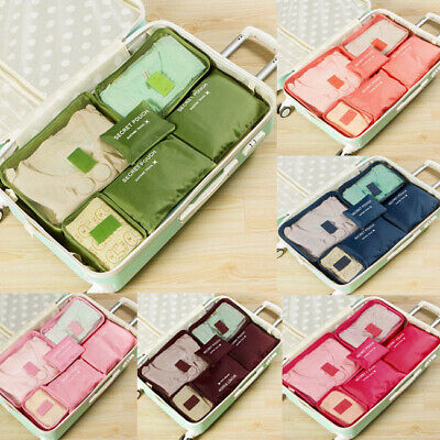 6Pieces Set Luggage Organiser Suitcase Storage Bags Packing Travel Cubes US