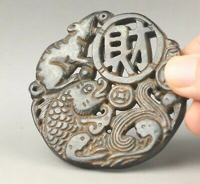 Chinese old natural jade hand-carved fish and flowr pendant 2.6 inch