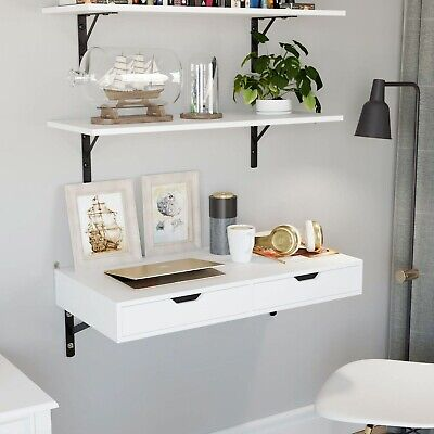 Wall Mounted Computer Desk Floating White Table Space Saving Storage Workstation