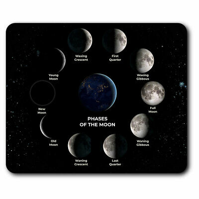 Computer Mouse Mat - Moon Phases Space Planet NASA Office Gift #8145