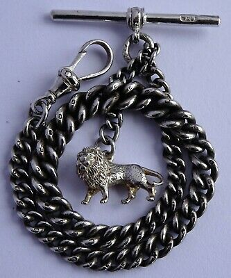 Lovely antique solid silver pocket watch albert chain & silver lion passant fob