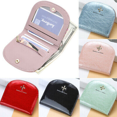 Women Lady Mini Leather Bifold Wallet Ladies Zipper Coin Bag Cards Holder Purse