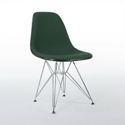 Green Herman Miller Vintage Eames Upholstered DSR Dining Side Shell Chair