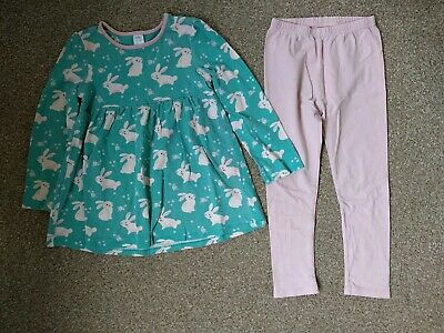 Bunnies long-sleeved Top and leggings - Girls- Age 4-5 Years -pink and turquoise