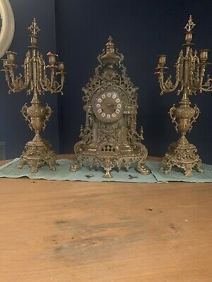 Brass Mantle Clock Candelabra Set Franz Hermle Works