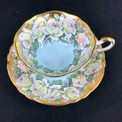 Vintage Paragon England Heavy Gold White Rose Garland PERFECT Cup Saucer A1584