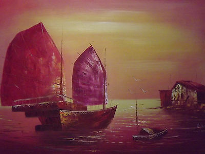Chinese Old Boats Red Large Oil Painting Art Seascape Ocean Sea Ships Original