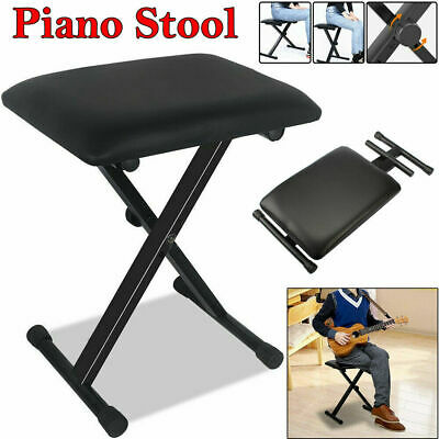 Adjustable Folding Piano Keyboard Bench Stool PU Leather Soft Padded Seat Chair