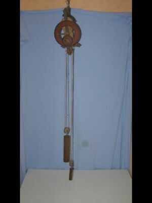 "Old wooden wall clock ""Baumann"" with 2 dials and 2 weights, very rare"