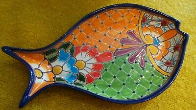 Authentic Handmade Mexican Talavera Fish Serving Platter Bowl - Orange and Green