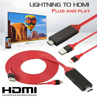 Lightning to Digital TV HDMI Cable Adapter For Ipad air iphone 7 7Plus 8 X RAC