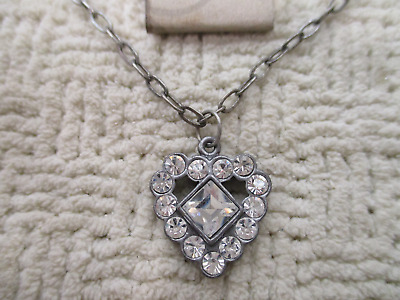 Austrian Crystal Antiqued Silver Heart Pendant / Charm Necklace Jewelry High End
