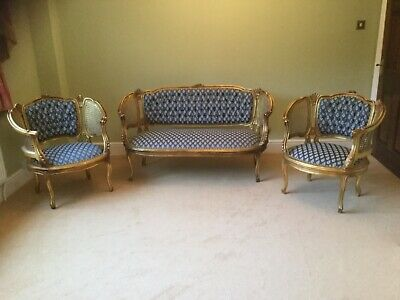 Antique reupholstered Victorian/Edwardian gold lattice settee and two chairs