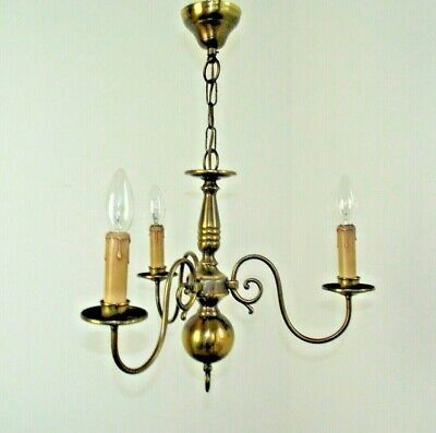 Super Vintage French Bronzed Effect Metal Flemish Style 3 Arm Chandelier 1594