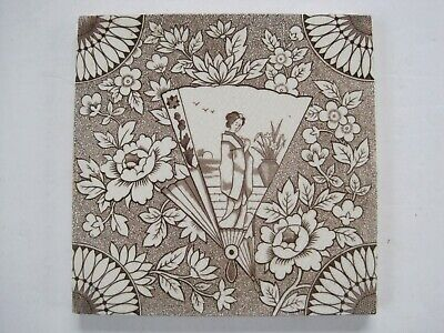 Antique Victorian Malkin Edge Japanesque Transfer Print Tile C1870 - 1900