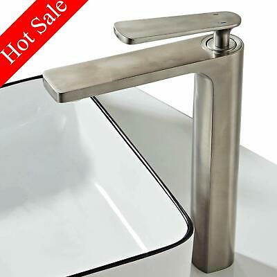 Bathroom Tall Vessel Basin Faucet Modern Brushed Nickel Brass Mixer Tap One Hole