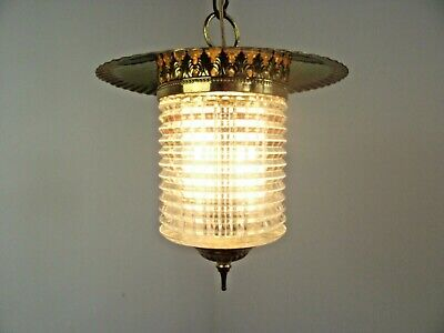 Vintage French Ceiling Hall Lantern Gold Metal Frame Patterned Glass Shade 1593