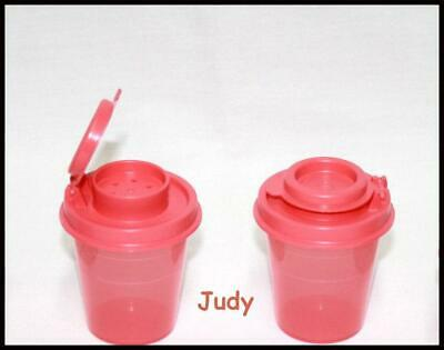 Tupperware Salt & Pepper Spice Shakers Mini Midgets Guava/Coral ~BRAND NEW SET